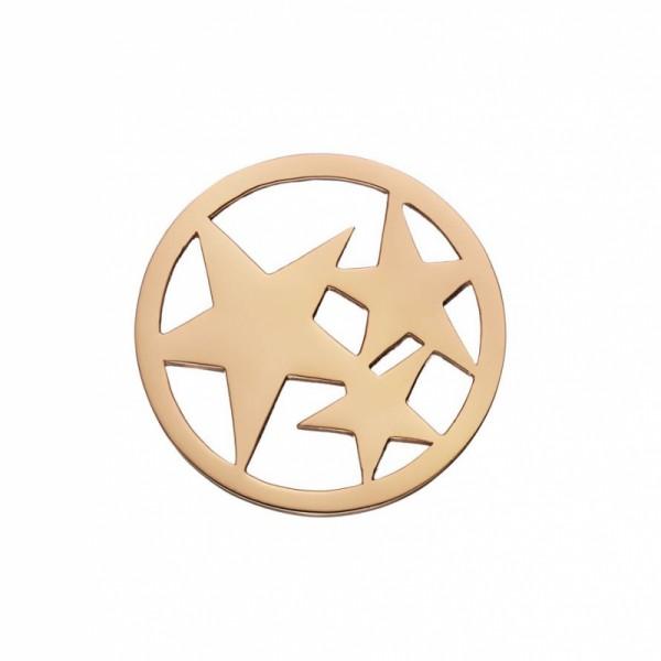 Daisy London Halo Coin Drei Sterne Silber 18kt rosé vergoldet