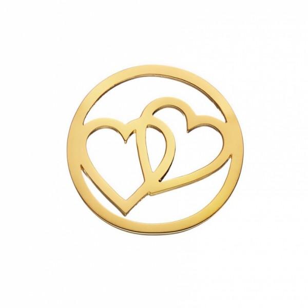 Daisy London Halo Coin Doppel Herz Silber 18kt vergoldet